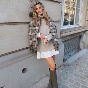 Zara wool blend plaid overshirt jacket shacket Bloggers Favorite